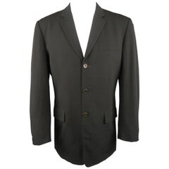 Vintage JEAN PAUL GAULTIER OBJET 38 Black Wool Twill Notch Lapel Sport Coat