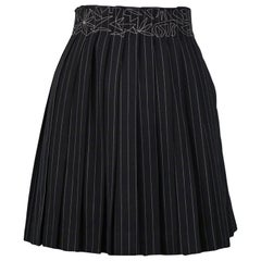 Vintage Jean Paul Gaultier Pinstripe Pleated Skirt with Embroidery