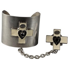 Vintage JEAN PAUL GAULTIER Punk Gothic Cross Enamel Ring and Cuff