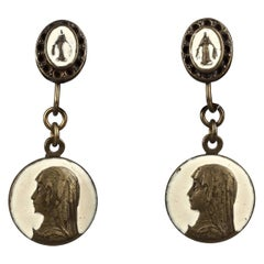 Vintage JEAN PAUL GAULTIER Roman Coin Enamel Bronze Drop Earrings