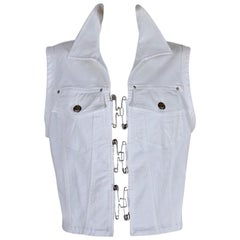 Vintage JEAN PAUL GAULTIER Safety Pin White Denim Vest Jacket