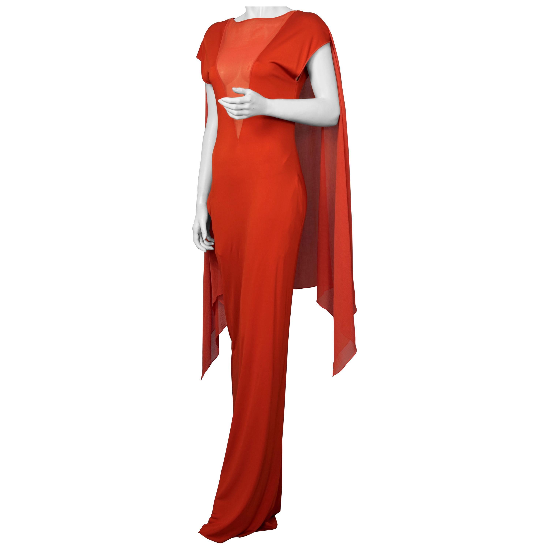 Vintage JEAN PAUL GAULTIER Shoulder Cape Long Orange Dress