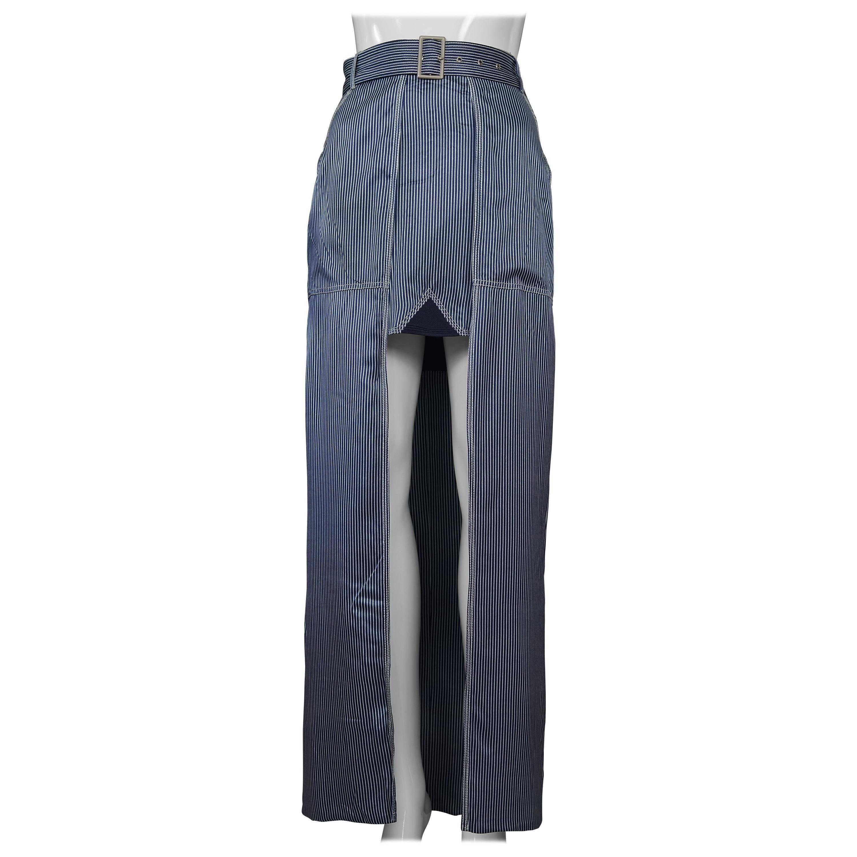 Vintage JEAN PAUL GAULTIER Silk High Low Stripe Belted Skirt