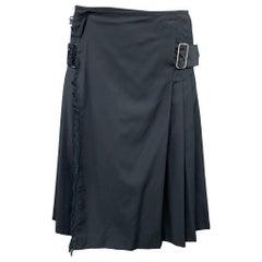Vintage JEAN PAUL GAULTIER Size 30 Charcoal Pleated Virgin Wool Belted Kilt