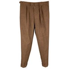 Vintage JEAN PAUL GAULTIER Size 34 Brown Wool Blend Pleated Dress Pants