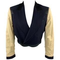 Vintage JEAN PAUL GAULTIER Size 36 Navy & Beige Mixed Fabrics Wool Jacket