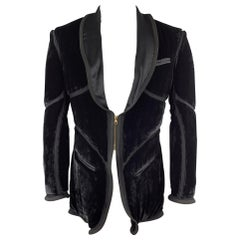 Vintage JEAN PAUL GAULTIER Size 38 Black Velvet Zip Up Shawl Jacket