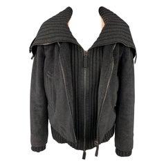 Vintage JEAN PAUL GAULTIER Size 6 Charcoal Angora Blend Leather Trim Jacket