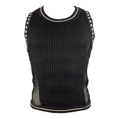 Vintage JEAN PAUL GAULTIER Size M Black and White Mesh Cotton Blend Mesh Back Ta
