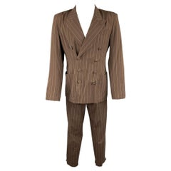 Vintage JEAN PAUL GAULTIER Size M Brown Stripe Cotton Double Breasted Suit