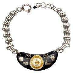 Vintage JEAN PAUL GAULTIER Steampunk Watch Lucite Choker Necklace