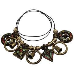 Vintage JEAN PAUL GAULTIER Tribal Enamel Charm Choker Necklace