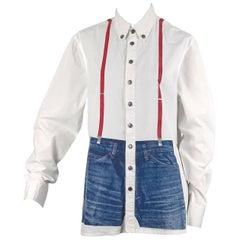 Vintage JEAN PAUL GAULTIER Trompe L'oeil Illusion Denim Suspender Shirt Top