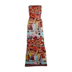 Vintage JEAN PAUL GAULTIER Vibrant Asian Print Tube Maxi Dress