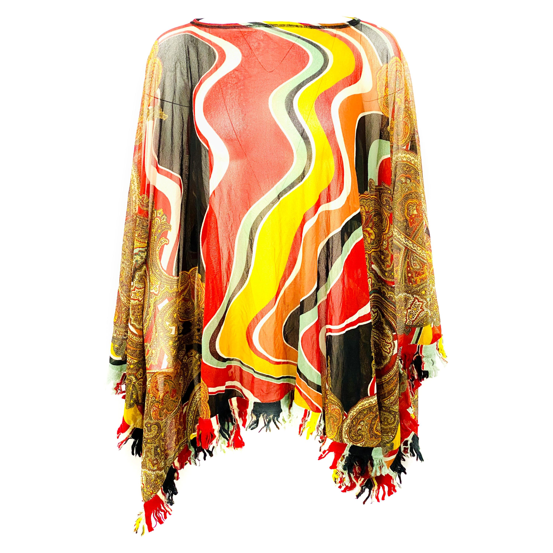 Vintage Jean Paul Gaultter Multicolor Mesh Poncho Cover Up Top Size M