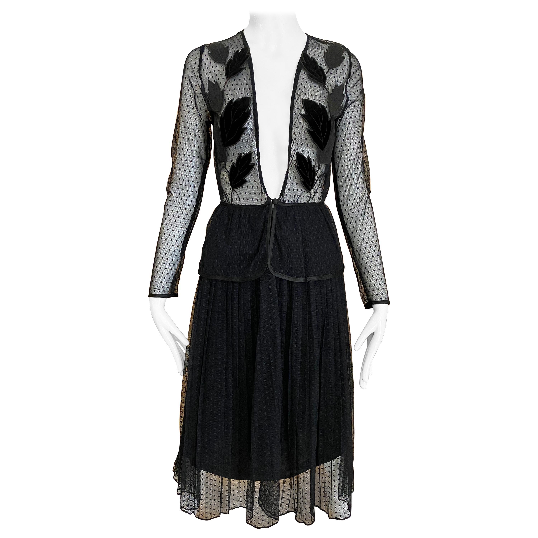 Vintage Jean Varon Black sheer cocktail Dress