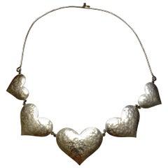 Vintage JEEP COLLINS 5 Heart Sterling Silver Necklace Estate Find