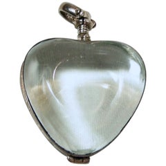 Vintage Jelly Belly Sterling Silver Lucite Heart Locket Pendant