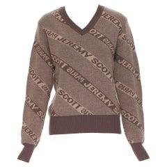 vintage JEREMY SCOTT PARIS brown logo intarsia merino wool short sweater S