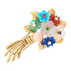 Vintage Jewelled Flower Brooch