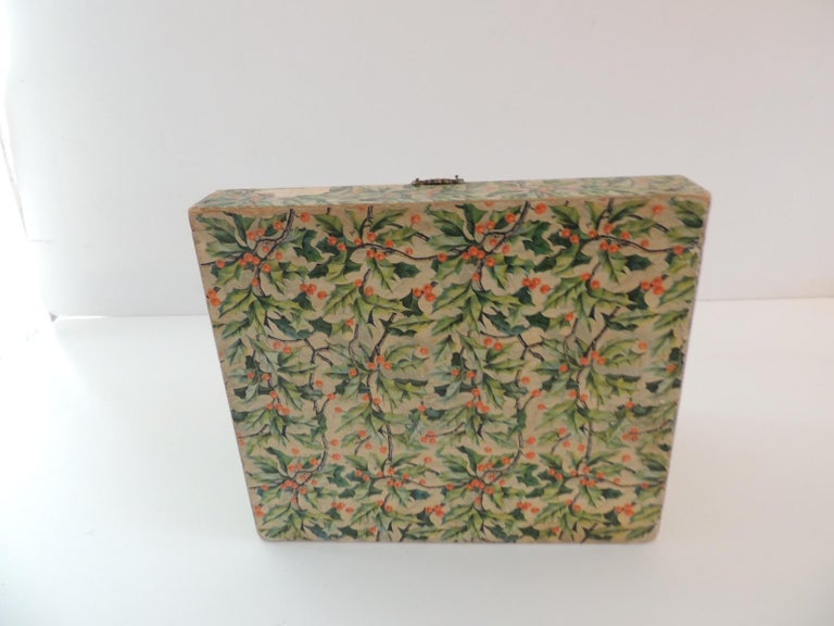 English Vintage Jewelry Box Cover in Holly Pattern Paper For Sale