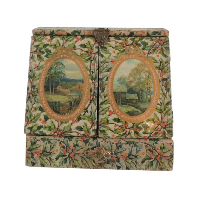 Vintage Jewelry Box Cover in Holly Pattern Paper For Sale