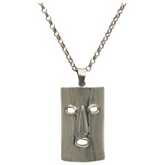 Vintage Silver Jewelry Figurative Mask Pendant Face Charm