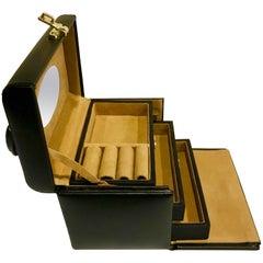 Leather Vanity Train Case, Brass Combination Lock
