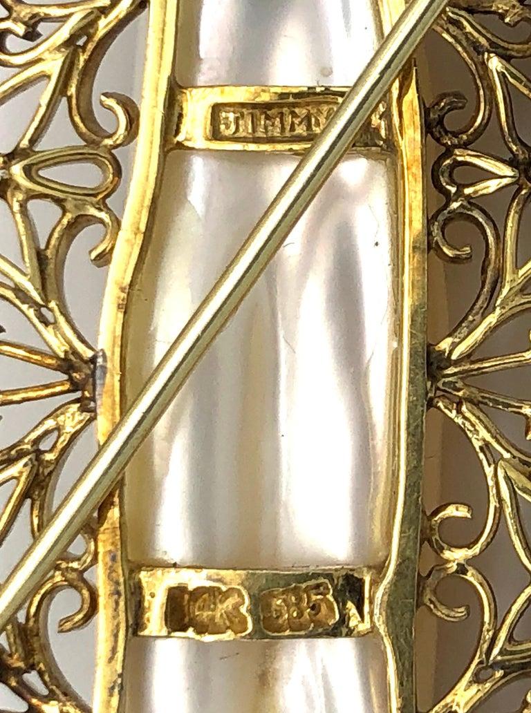 Baguette Cut Vintage JIMMY Keshi Pearl Baguette Round Cut Diamonds 14 Karat Yellow White Gold For Sale