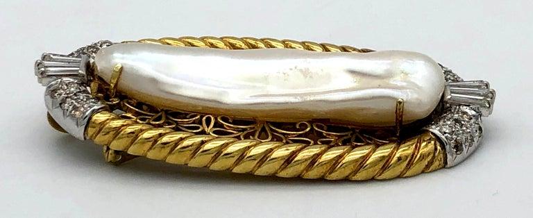 Women's Vintage JIMMY Keshi Pearl Baguette Round Cut Diamonds 14 Karat Yellow White Gold For Sale