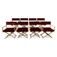Vintage JMF Style Director Chairs, Set of 8