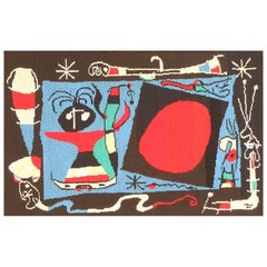Vintage Joan Miró Tapestry Rug. Size: 2 ft 10 in x 1 ft 10 in (0.86 m x 0.56 m)