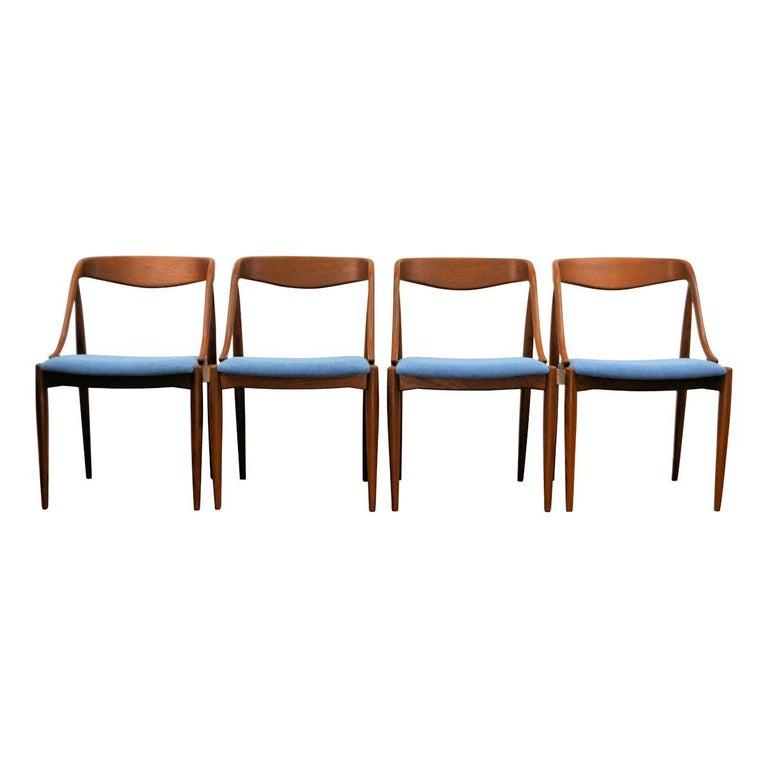 Danish Vintage Johannes Andersen Teak Dining Chairs, Set of Four For Sale
