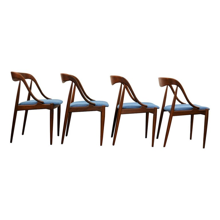 Mid-20th Century Vintage Johannes Andersen Teak Dining Chairs, Set of Four For Sale