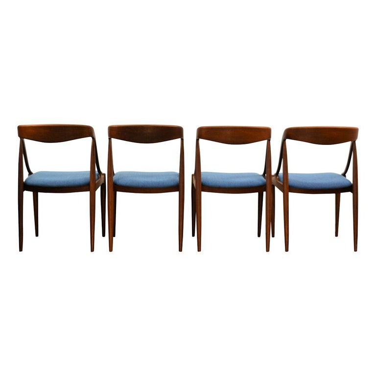 Fabric Vintage Johannes Andersen Teak Dining Chairs, Set of Four For Sale