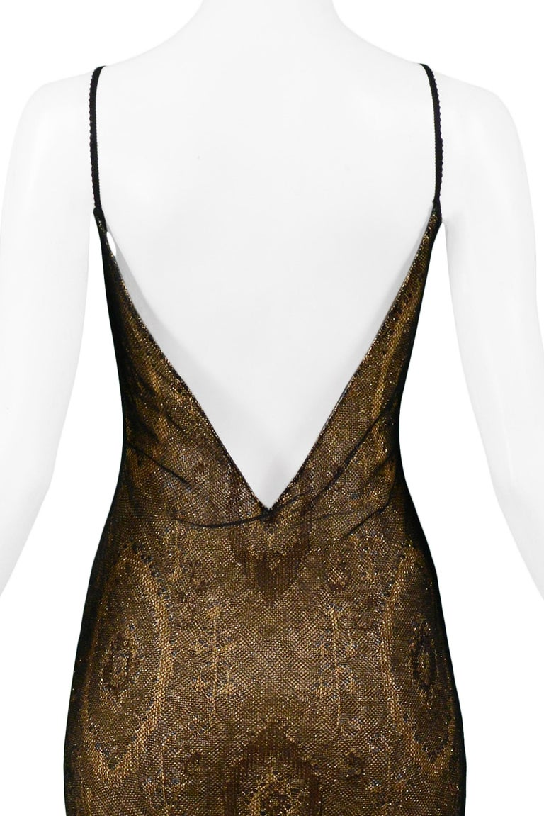 Vintage John Galliano Black & Gold Lame Gown & Cardigan Set | Runway 1998 For Sale 7