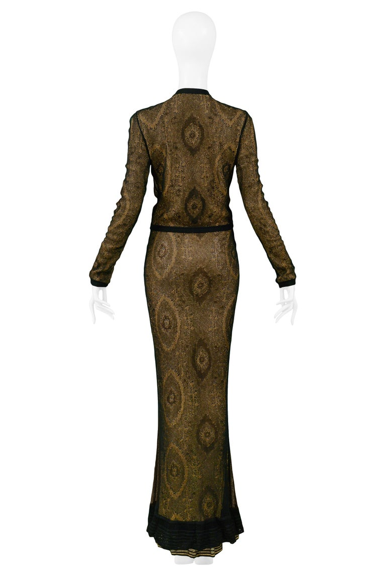 Vintage John Galliano Black & Gold Lame Gown & Cardigan Set | Runway 1998 For Sale 8