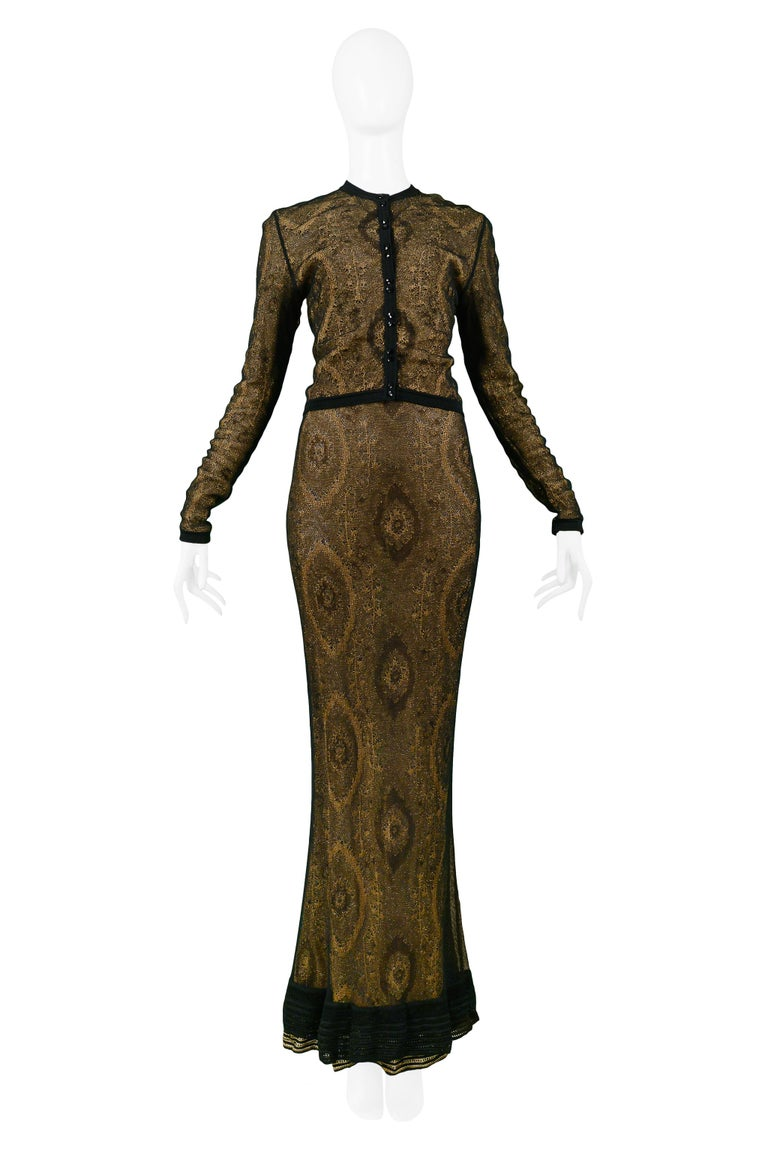 Vintage John Galliano Black & Gold Lame Gown & Cardigan Set | Runway 1998 In Excellent Condition For Sale In Los Angeles, CA