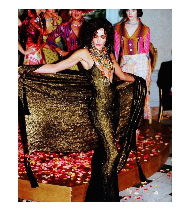 Women's Vintage John Galliano Black & Gold Lame Gown & Cardigan Set | Runway 1998 For Sale