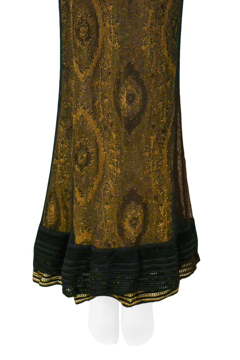 Vintage John Galliano Black & Gold Lame Gown & Cardigan Set | Runway 1998 For Sale 2