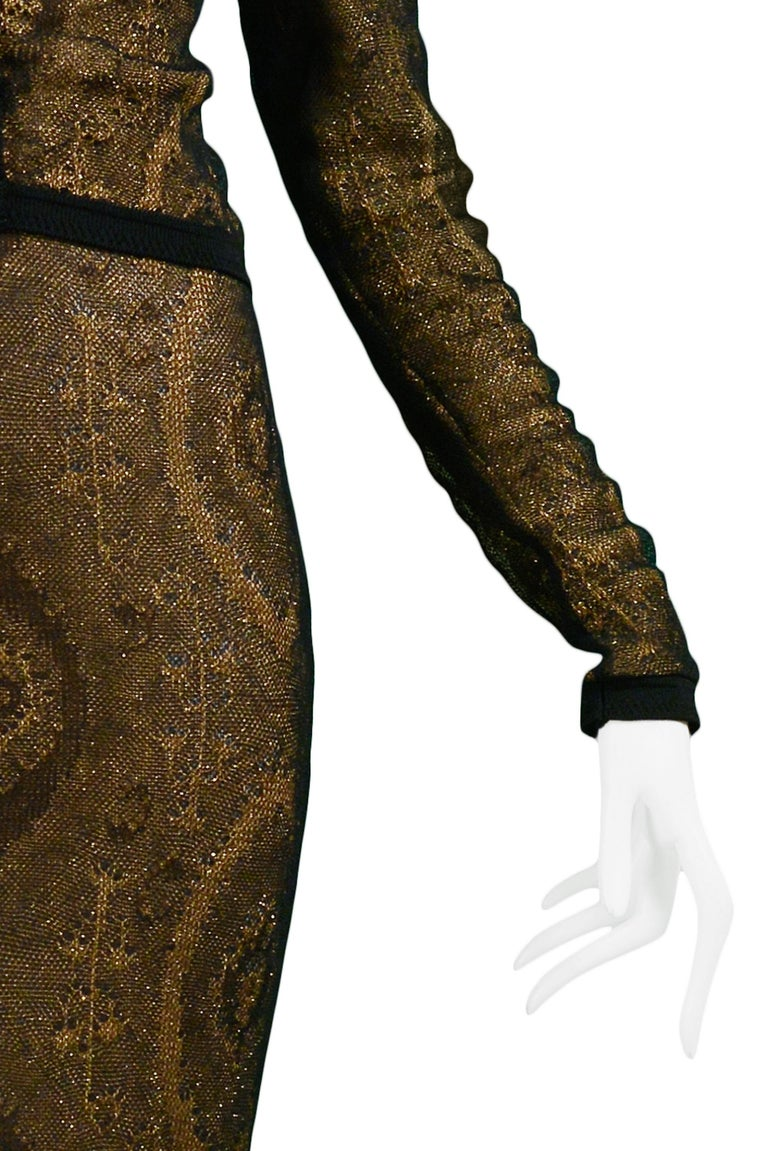 Vintage John Galliano Black & Gold Lame Gown & Cardigan Set | Runway 1998 For Sale 3