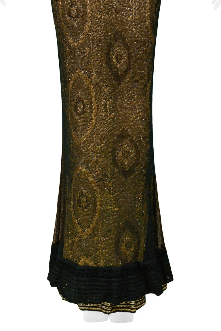 Vintage John Galliano Black & Gold Lame Gown & Cardigan Set | Runway 1998 For Sale 4