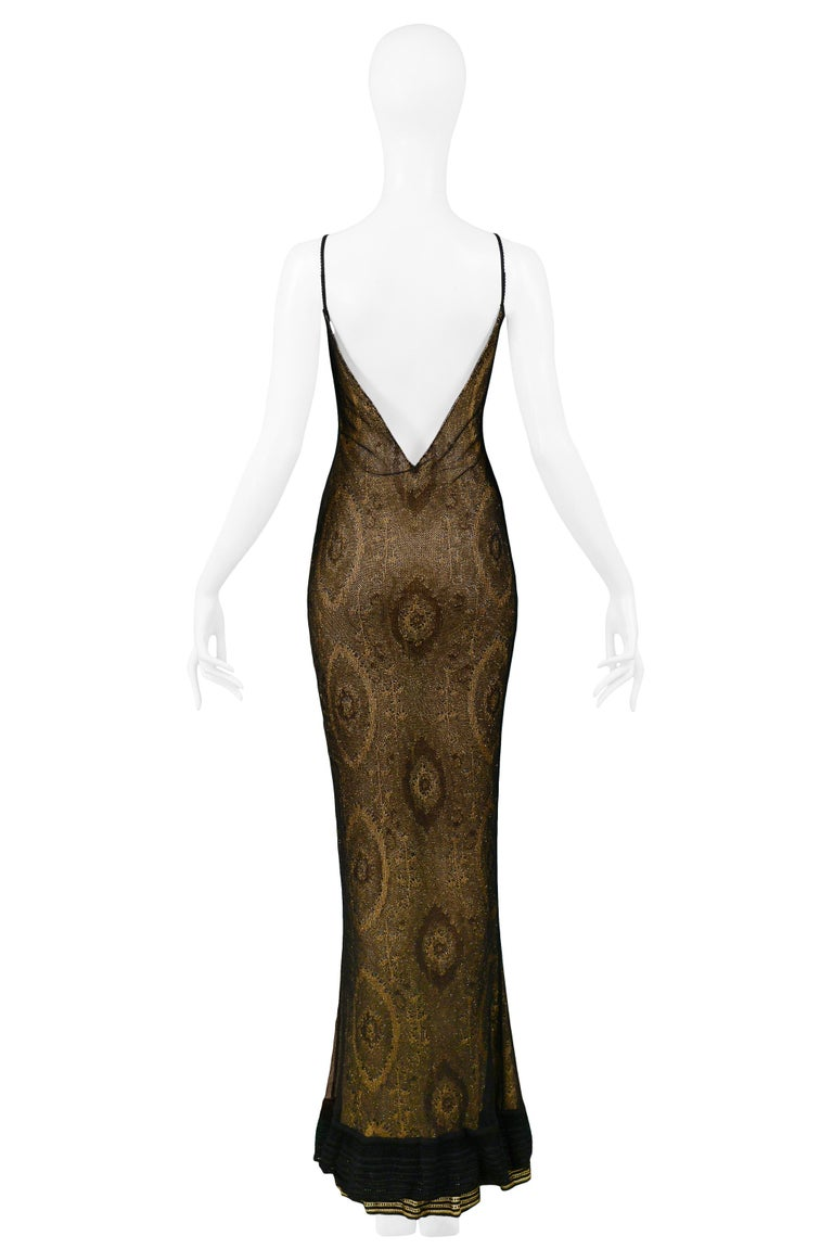 Vintage John Galliano Black & Gold Lame Gown & Cardigan Set | Runway 1998 For Sale 5