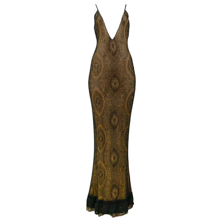 Vintage John Galliano Black & Gold Lame Gown & Cardigan Set | Runway 1998 For Sale