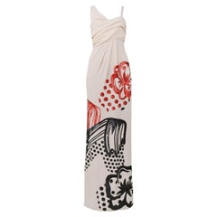 Vintage John Galliano Cream Gown with Black & Red Sequins 2007