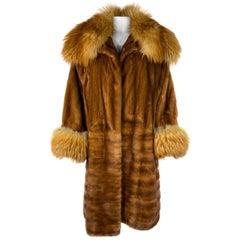 Vintage John Galliano Paris Brown Mink Fur Midi Coat Jacket