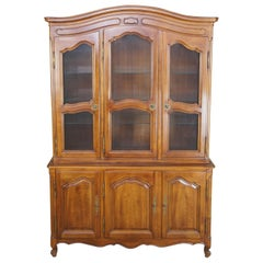 Vintage John Widdicomb Walnut French Provincial Country China Cabinet Cupboard