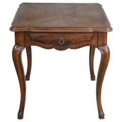 Vintage John Widdicomb Walnut Matchbook French Country Side Accent Table