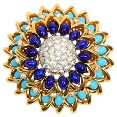 Vintage Jomaz Brooch With Turquoise and Lapis Blue Oval Stones and Rhinestones