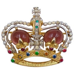 Vintage JOMAZ Crown Brooch With Cabochons and Rhinestones 1950's